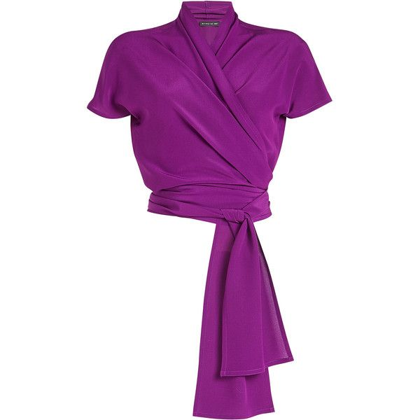 Etro Silk Wrap Top ($485) ❤ liked on Polyvore featuring tops, purple, etro, etro top, tie top, purple top and wrap top