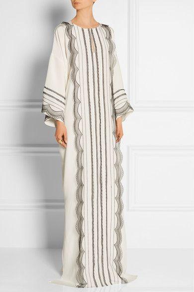 OSCAR DE LA RENTA Lace-trimmed stretch-silk georgette kaftan $2,890