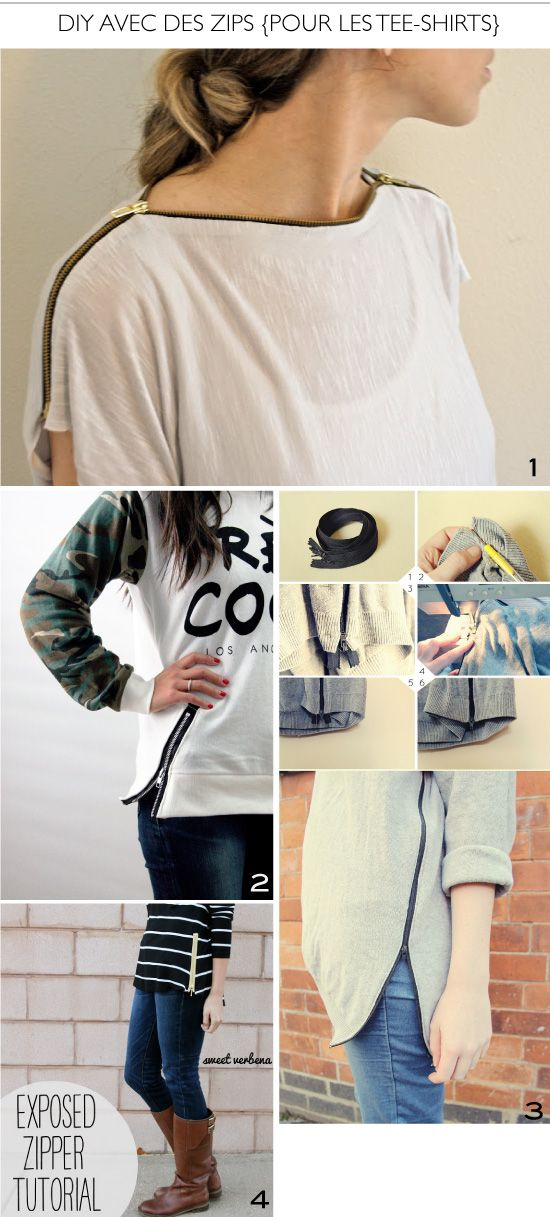 ZIPPER t shirts diy | Pour customiser de simples tee-shirts, on coupe, on coud une fermeture ...