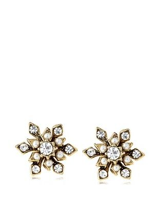 49% OFF Yochi Crystal and Pearl Petal Earrings