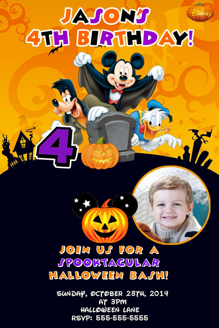 Mickey Mouse Halloween Birthday Invitations $8.99 | Halloween Invitations, Halloween Birthday ...
