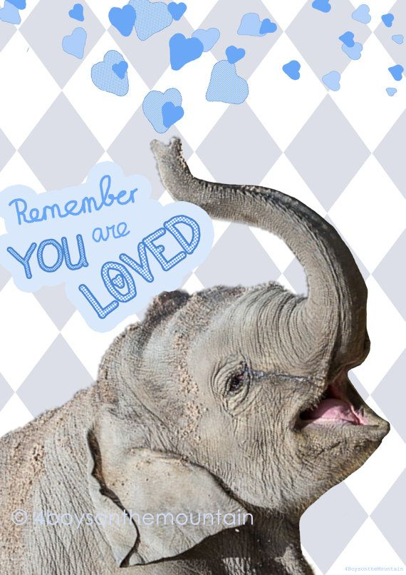 """Wall Art Elephant Quote """"remember you are loved"""" ... sweet in a nursery room! von 4BoysontheMountain"""