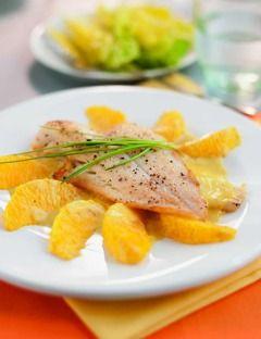 Leichte Rezepte zum abnehmen: Scholle mit Orangenfilets und Salatherzen - Eine Trennkost-Mahlzeit der Trennkost-Expertin Ursula Summ ...