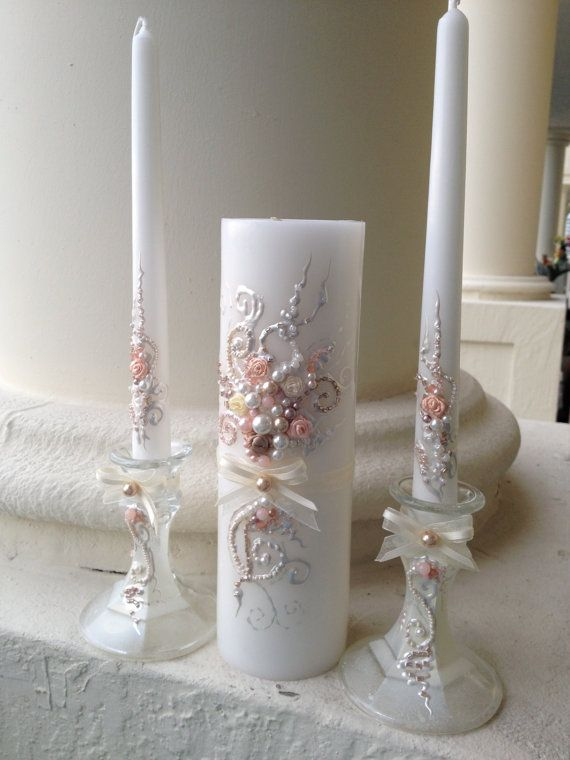 Beautiful wedding unity candle set in ivory by PureBeautyArt