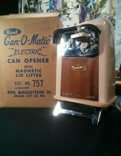 vintage wood tone rival canomatic electric can opener mid century modern w