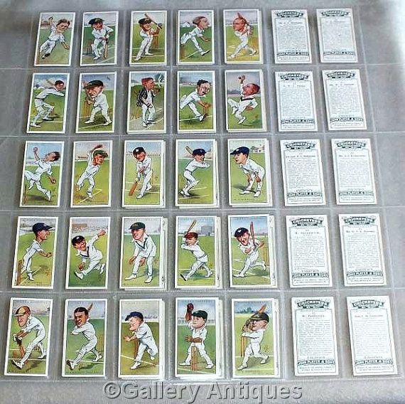 Vintage Players Cricketers Caricatures by RIP Full Complete Set of 50 Cigarette Cards in Plastic Sleeves Issued in 1926 (ref: 5011)
