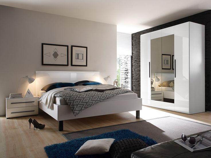 Rich set of furniture into the bedroom in the white colour. Promotion%%%%SALE%%% Bogaty zestaw mebli do sypialni w białym kolorze. SUPER PROMOCJA!%% #bed #whitebed #bedroom #sale #mirjan24 #helvetia #wardrobe #mirror