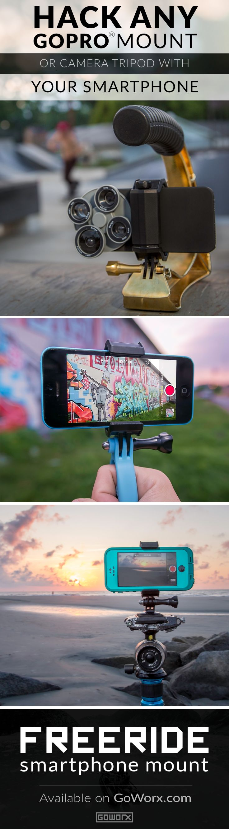 [Gadgets & Gear] The FreeRide Phone Mount transforms your iPhone® or smartphone into an versatile and mountable camera capable of handling all of life's adventures. Available today for $24.99 and backed by our 100% Gear Guarantee. // Your source for GoPro, Drone & Mobile Gear // www.GoWorx.com