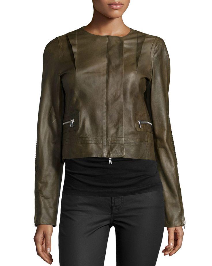 Long-Sleeve Cropped Leather Jacket, Cornichon, Women's, Size: 4 - Kaufman Franco