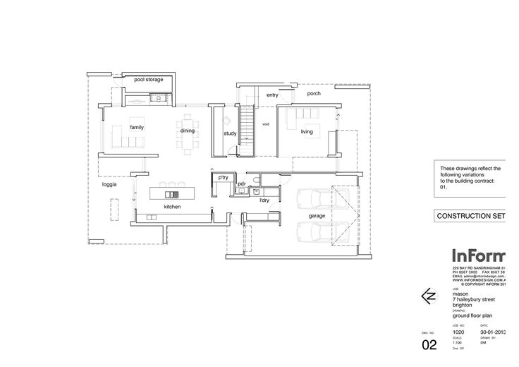 Brighton House,Ground Floor Plan Love the play between garage / panty and laundry - love it even more with a mud room in there