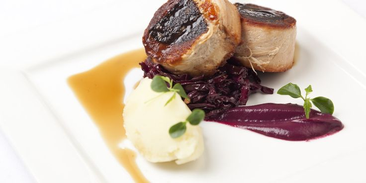 Graham Campbell's extravagant pork belly recipe stuffs the popular cut with black pudding and serves with braised red cabbage and mash