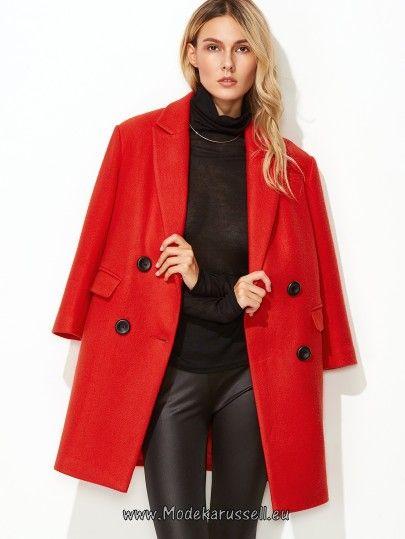 Zweireiher Mantel mit Vlies Buchstaben rot Carlina