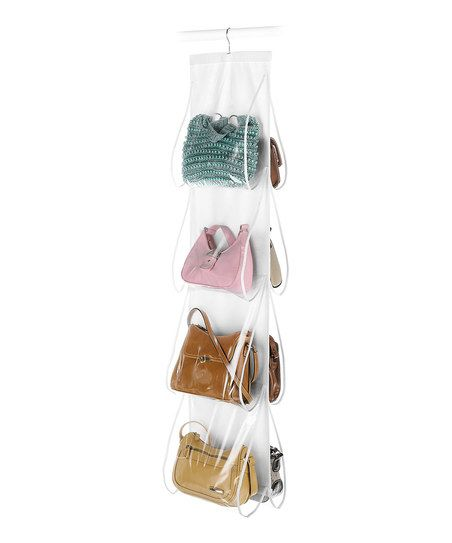Maximize space and minimize mess with this clever handbag organizer. Eight transparent pockets compactly store purses while protecting them from dust. Designed with a hook at the top, it neatly hangs from closet rods.