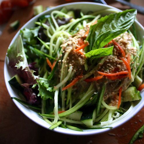 raw Zucchini Pasta with homemade peanut sauce (peanut butter, lemon ...
