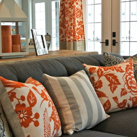 Grey Sofa With Orange Pillows Floral And Stripes Modern