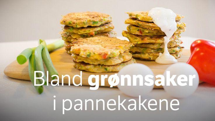 Disse små pannekakene kan fylles med nesten alle slags grønnsaker, ost og kjøtt. Bruk det du har.