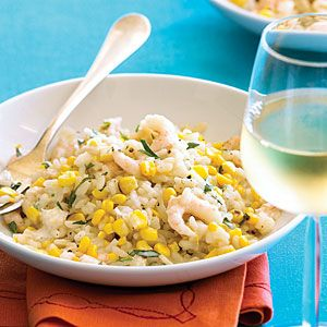 Grilled Corn and Bay Shrimp Risotto paired with a glass of Chardonnay; may we suggest Sorrel Canyon Chardonnay from Mendocino County. http://www.garyswine.com/fine_wine/california/10612.html