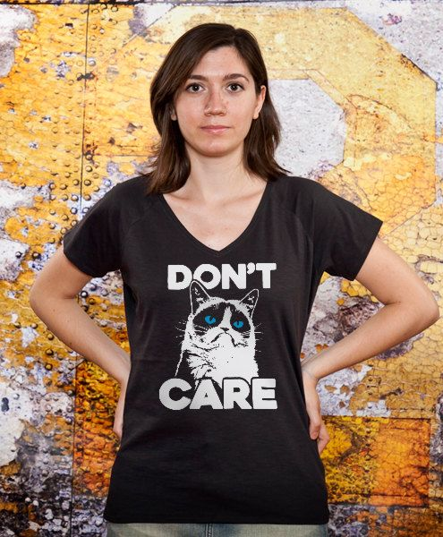 Womens v-neck Don't Care vneck tee sister gift wife by store365