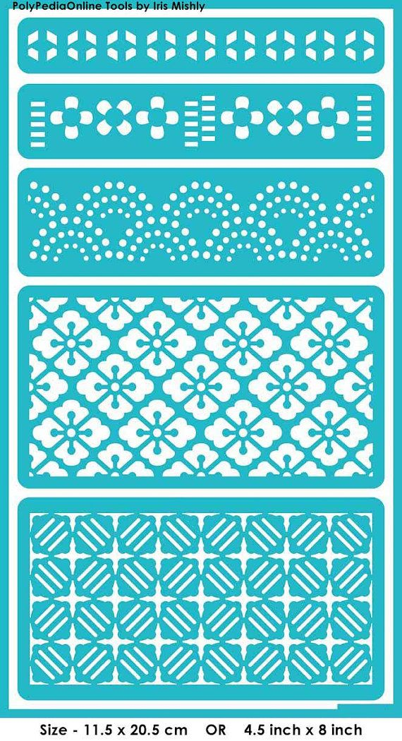 "Stencil Stencils Templates ""Symmetric Patterns"", self-adhesive, flexible, for polymer clay, fabric, wood, glass, card making"