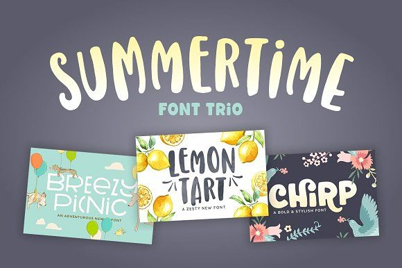 Summertime Font Trio by Denise Chandler. Three great fonts that work great together. Perfect for baby shower and birthday invitations, neighborhood party flyers, family reunion e-vites, even yard sale signs! The font trio includes Lemon Tart, Chirp, and Breezy Picnic.