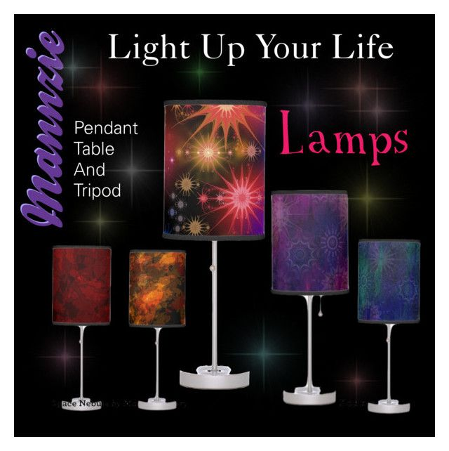 """""""Light Up Your Life - Lamps"""" by mannzie on Polyvore featuring 5 unique designed #LivingRoom #Lamps Sold On Zazzle"""