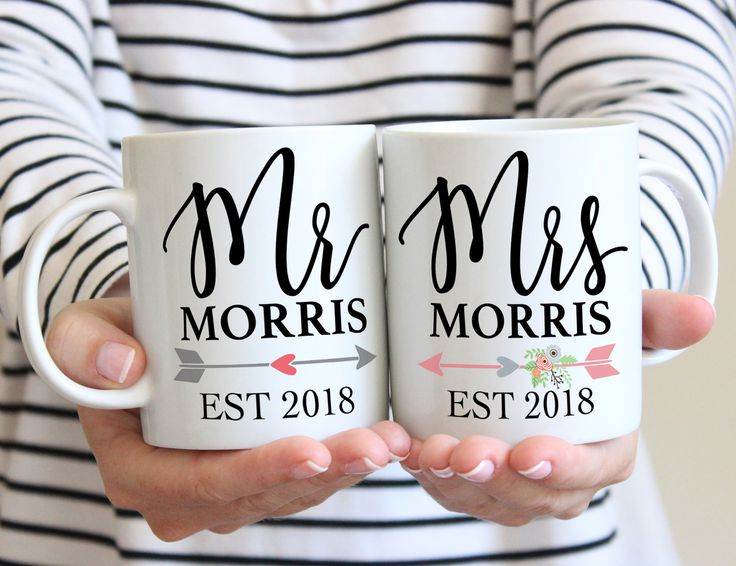 Couple Mug Set of 2 Mugs Gift for Couples Mr & Mrs Last Name, Coffee Mugs Valentine's Gift, Wedding Anniversary Gift (Item - PMR800) by Z Create Design