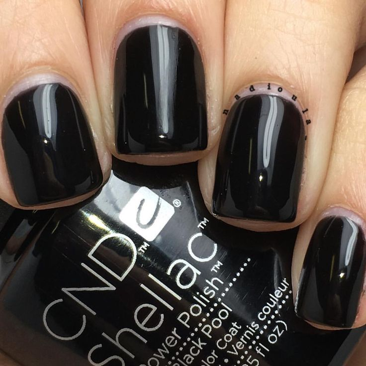 "Nadia on Instagram: ""@cndworld Shellac Black Pool. I used CND Base Coat, 2 coats of Shellac Black Pool, and topped off with CND Shellac Xpress5 Top Coat. Cured in the CND LED Lamp."""