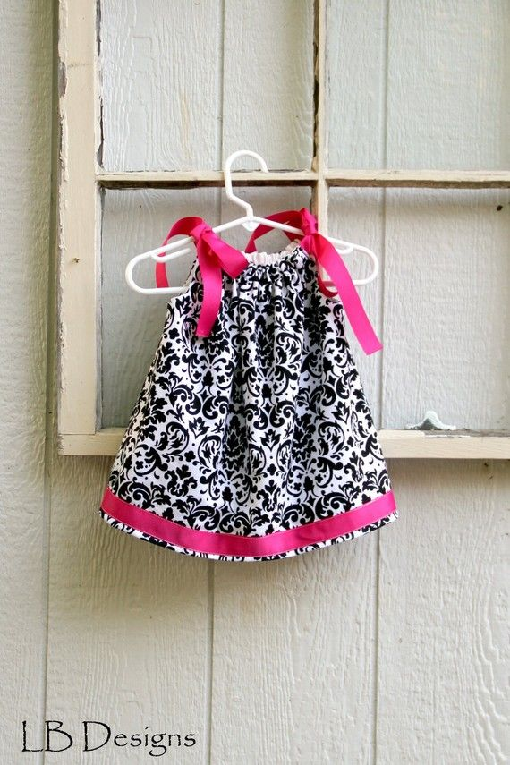 Dress White/Black Damask Pillowcase Dress by MyLittleBitDesigns, $26.00