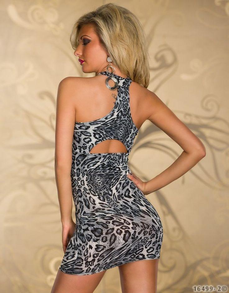 Damen Minikleid,Leo-Print Stetch Partykleid Clubware Abend Kleid Longshirt,36/38