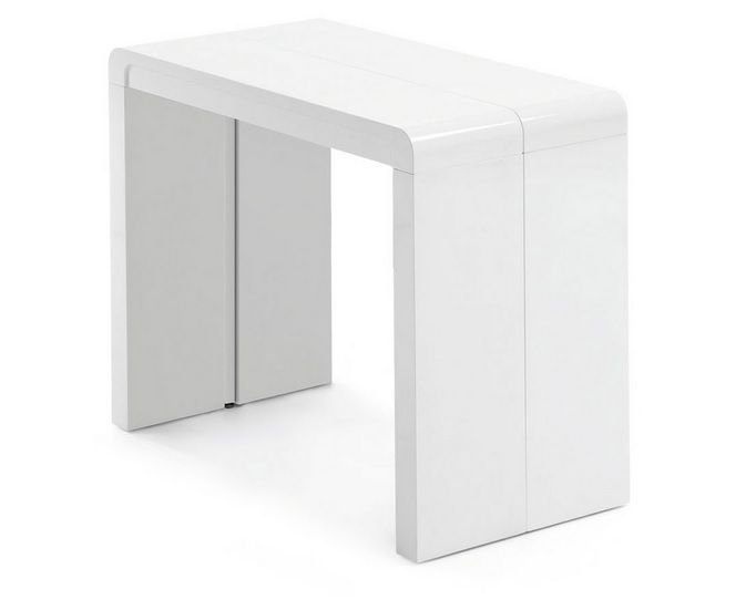 Consola mesa extensible blanco infinity c muebles alba for Mesa consola extensible