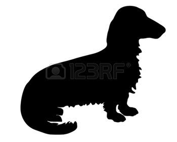 dachshund breed: The black silhouette of a longhaired Badger Dog