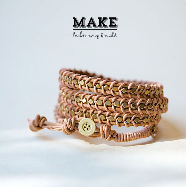 Simple Beaded Leather Wrap