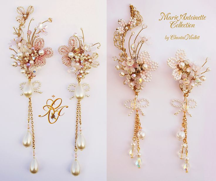 Opulant, extravagant, hand made, special occasion earrings inspired by Marie Antoinette.  Various options available. #marieantoinette #weddingearrings #chandelierearrings