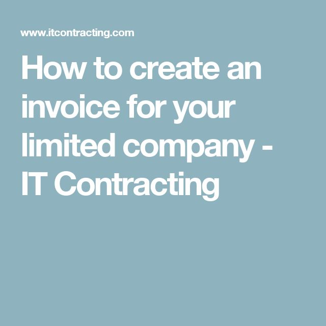 How to create an invoice for your limited company - IT Contracting