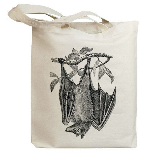 Vintage Bat Eco Friendly Canvas Tote Bag (id0146). $13.95, via Etsy.