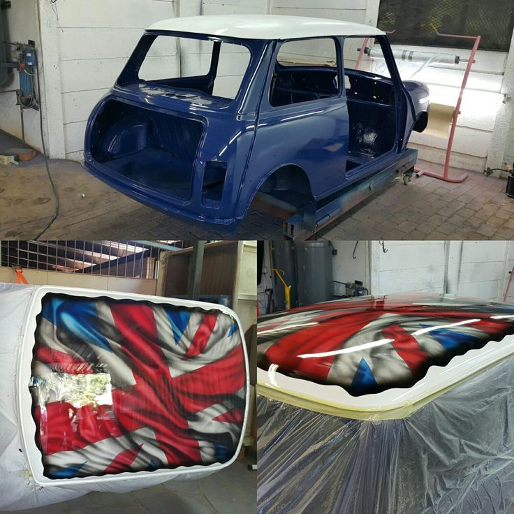 The #mini is done with it's paint work.  Next we get it's shine on   #galaxycustoms #custompaintjob #airbrushing #spraypaint #kustompaint