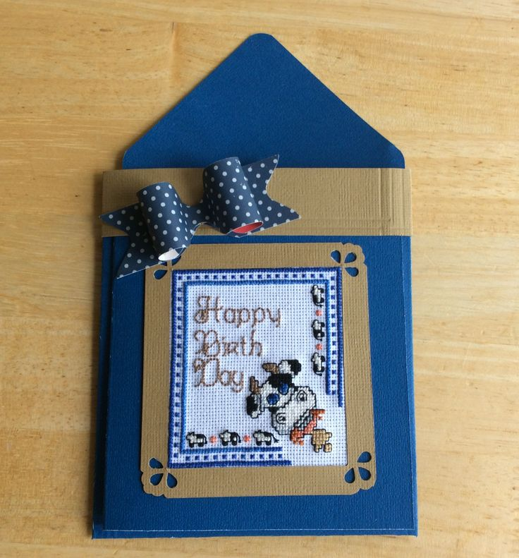 Cross stitch Birthday Card made by Karen Miniaci.