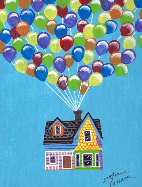 "This sweet little painting depicts an iconic moment from Disney/Pixar's ""Up"" when Carl's house takes flight with the use of balloons. Painted using acrylics, I made this for my sister and her husband whose 1st anniversary is coming up soon. They love the movie ""Up"", so I had a lot of fun making this for them."