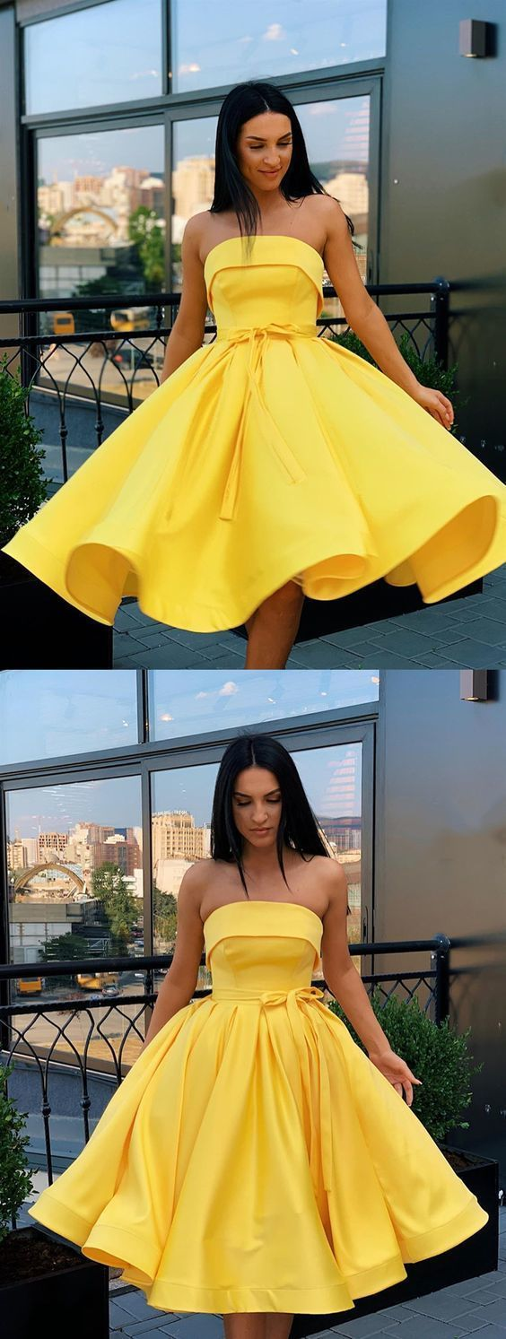 Short Strapless Pink Yellow Prom Dresses, Short Pink Yellow Formal Homecoming Dresses ML1070