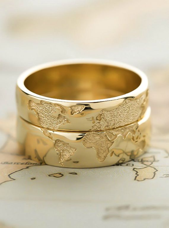 14k Gold Wedding Bands Set With World Map Travelers Wedding Bands