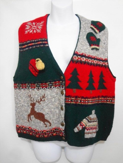 32.36$  Buy now - http://viquo.justgood.pw/vig/item.php?t=n3vdtn56199 - Ugly Christmas Sweater Vest Womens L Robert Scott Red Gray Green Black Reindeer 32.36$