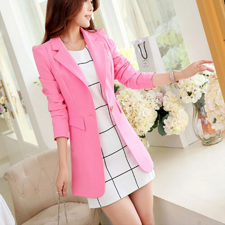 2016 New Women Fashion Spring Autumn One Button Long Suit Elegant Women Blazer Female Jacket H5E8K40-in Blazers from Women's Clothing & Accessories on Aliexpress.com | Alibaba Group