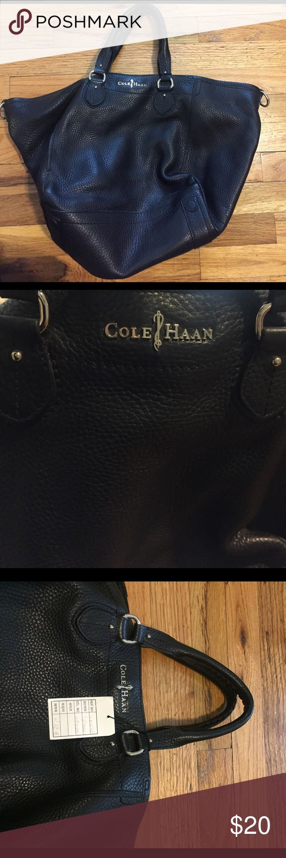Black leather Cole Haan bag New with tags. In great condition. Black leather Cole Haan purse. Cole Haan Bags Shoulder Bags
