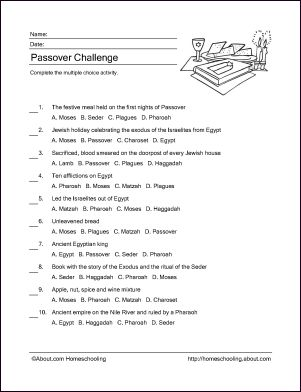 Free Passover Wordsearch Crossword