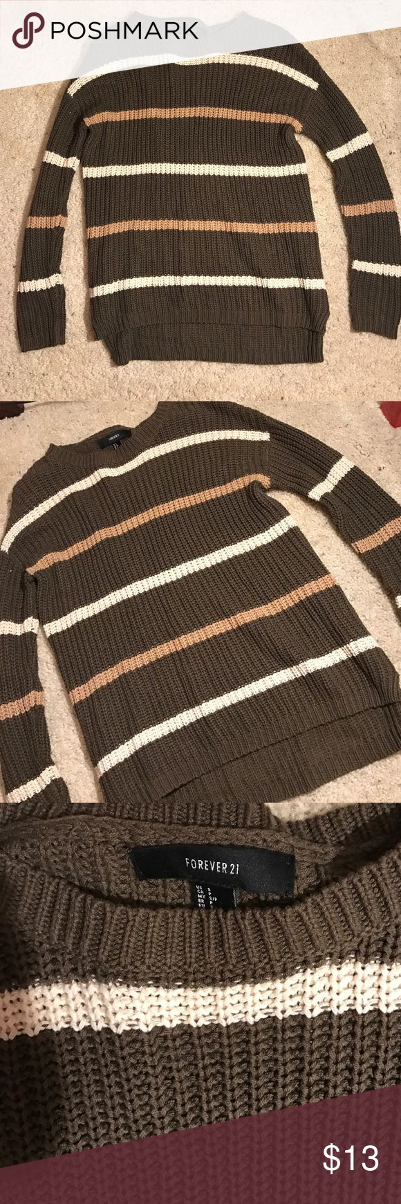 Forever 21 sweater Olive green with tan and off white stripes bought at forever 21. Forever 21 Sweaters Crew & Scoop Necks