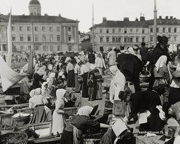Helsingin kauppatori markkinapäivänä, 1900 -luvun alku