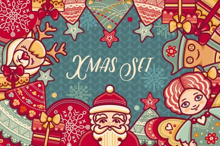 FREE Colourful Christmas Set By TheHungryJPEG