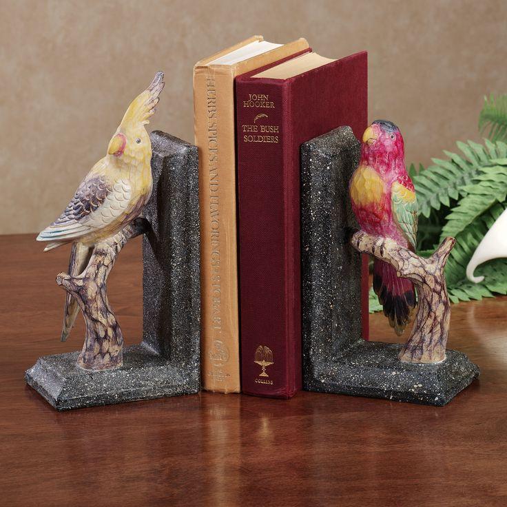 Tropical Birds Parrot Duo Bookend Pair