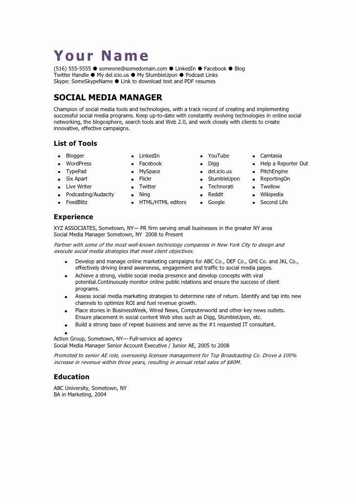 Social Media Manager Resumes New Social Media Manager Cv Template Social Media Manager Manager Resume Social Media Programs