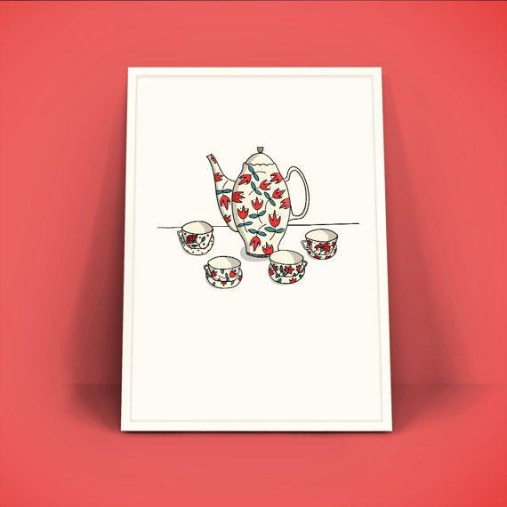 Retro Vintage Poster A4 Art Print - Theeservies - Kopje thee?  Dit is een print van een oorspronkelijk handgetekende illustratie (Illustratie Esther Mols.) die vervolgens gescand en gedigitaliseerd is. Prachtig in een lijst aan de muur. • Details • Papier: gedrukt op 200 gram papier. Formaat DIN A4 (29,7 x 21 cm)  Werkelijke kleuren kunnen afwijken van de kleuren op het beeldscherm.  Vragen of opmerkingen? Stuur me een berichtje en ik help je graag! :-)
